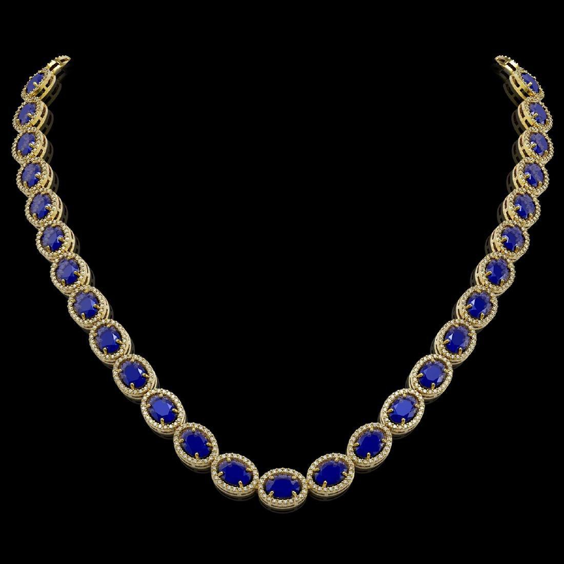 52.15 CTW Sapphire & Diamond Halo Necklace 10K Yellow
