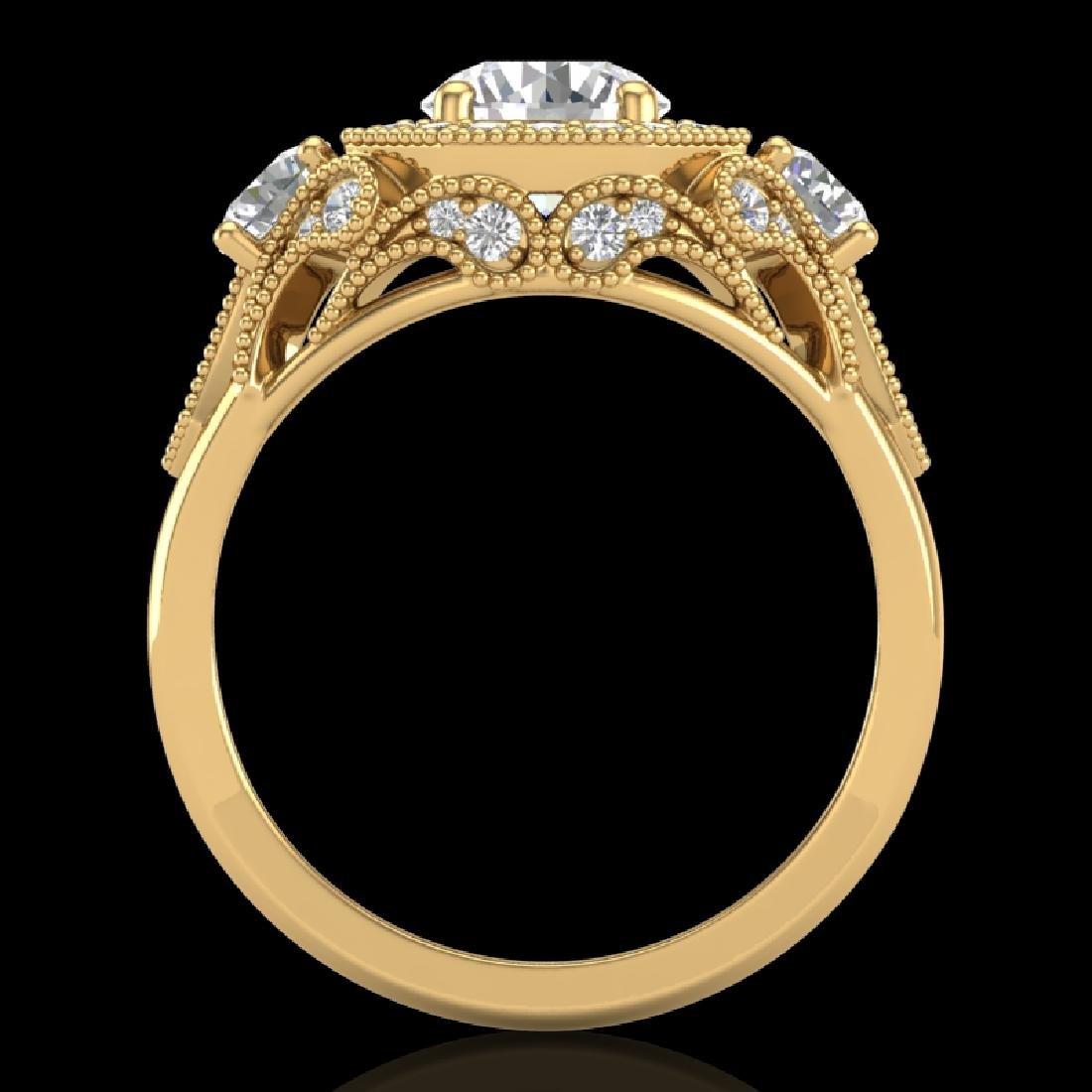2.11 CTW VS/SI Diamond Solitaire Art Deco 3 Stone Ring