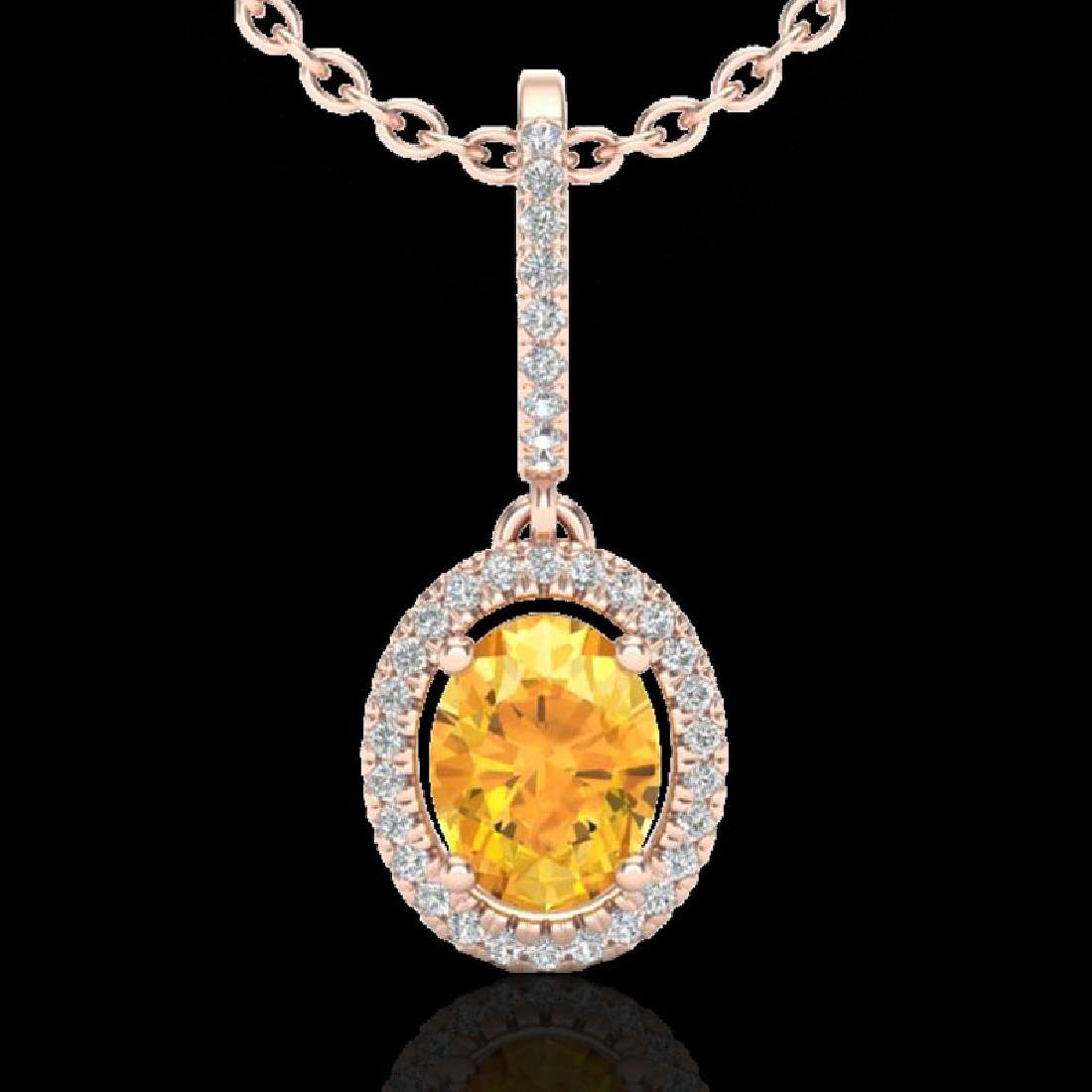 1.75 CTW Citrine & Micro Pave VS/SI Diamond Necklace