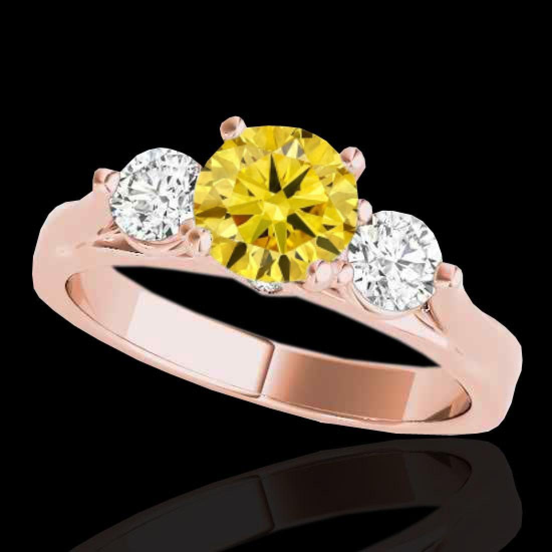 1.5 CTW Certified Si Intense Yellow Diamond 3 Stone
