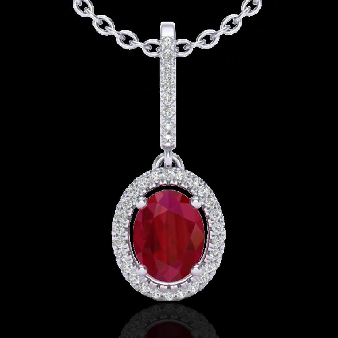 2 CTW Ruby & Micro Pave VS/SI Diamond Necklace
