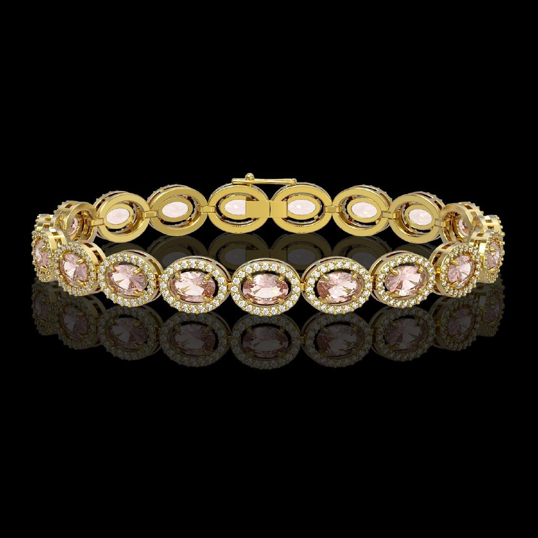 14.25 CTW Morganite & Diamond Halo Bracelet 10K Yellow