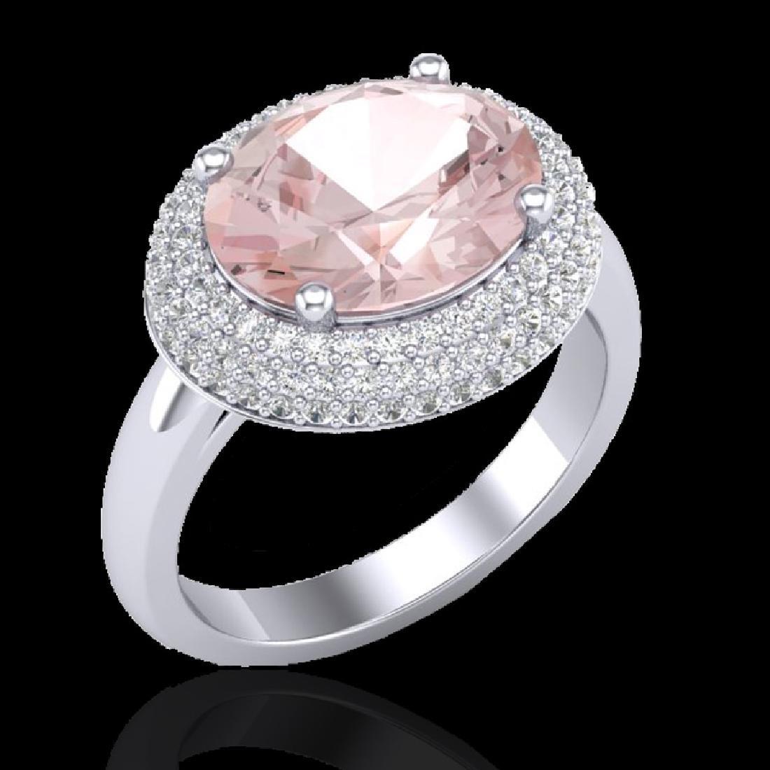 4.50 CTW Morganite & Micro Pave VS/SI Diamond Ring 18K