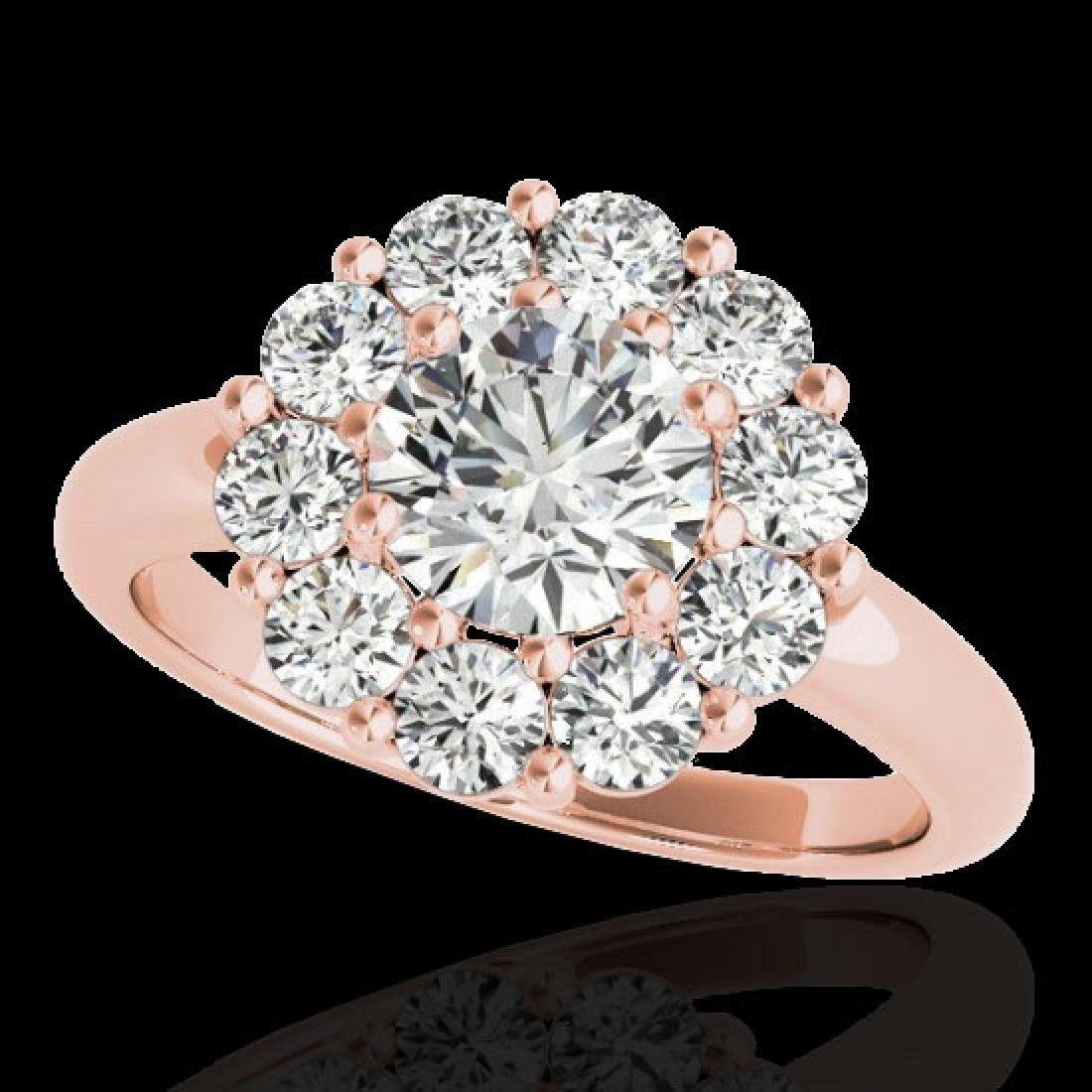 2.85 CTW H-SI/I Certified Diamond Solitaire Halo Ring