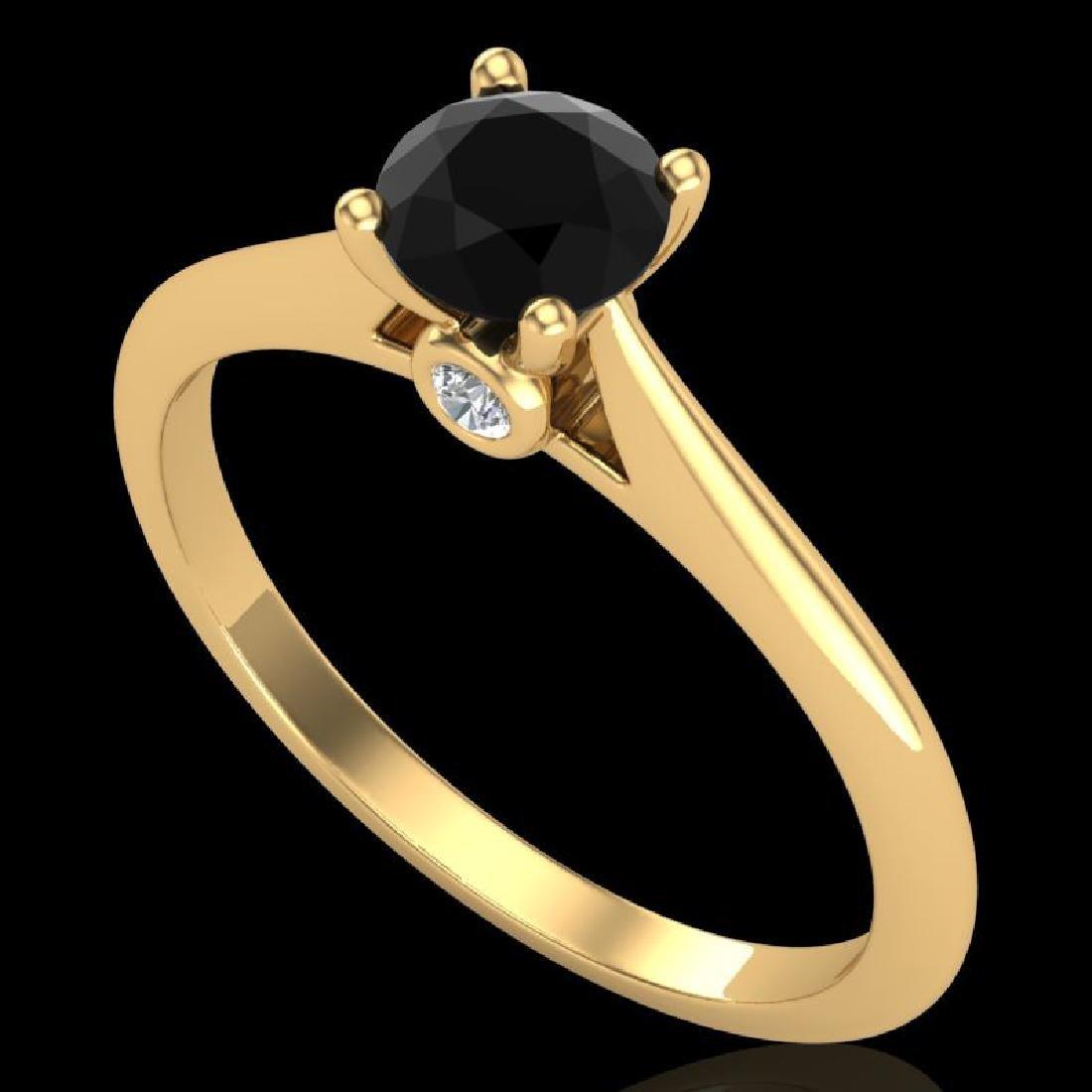 0.56 CTW Fancy Black Diamond Solitaire Engagement Art