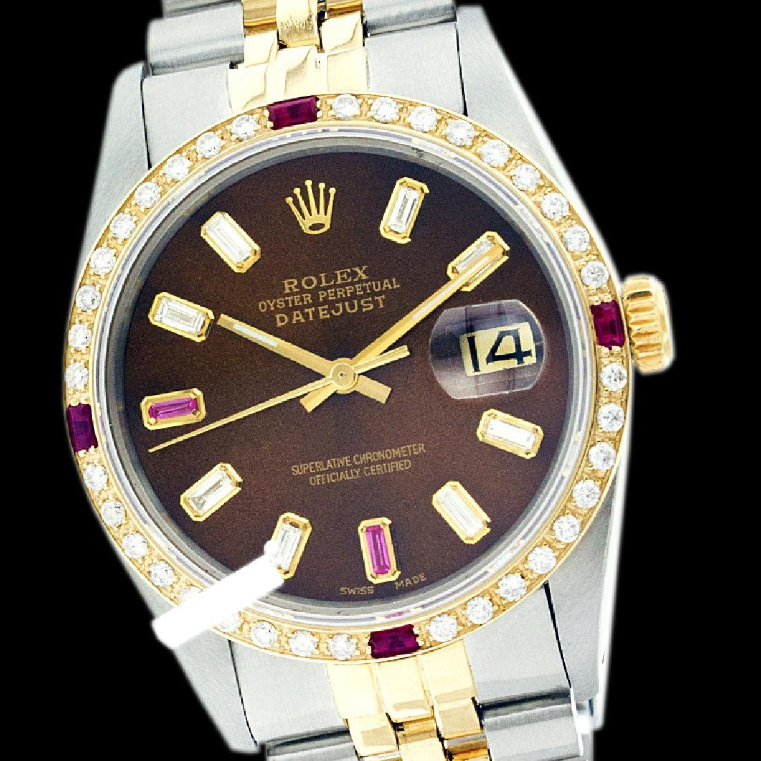Rolex Ladies Two Tone 14K Gold/ss, Diam/Ruby Dial &