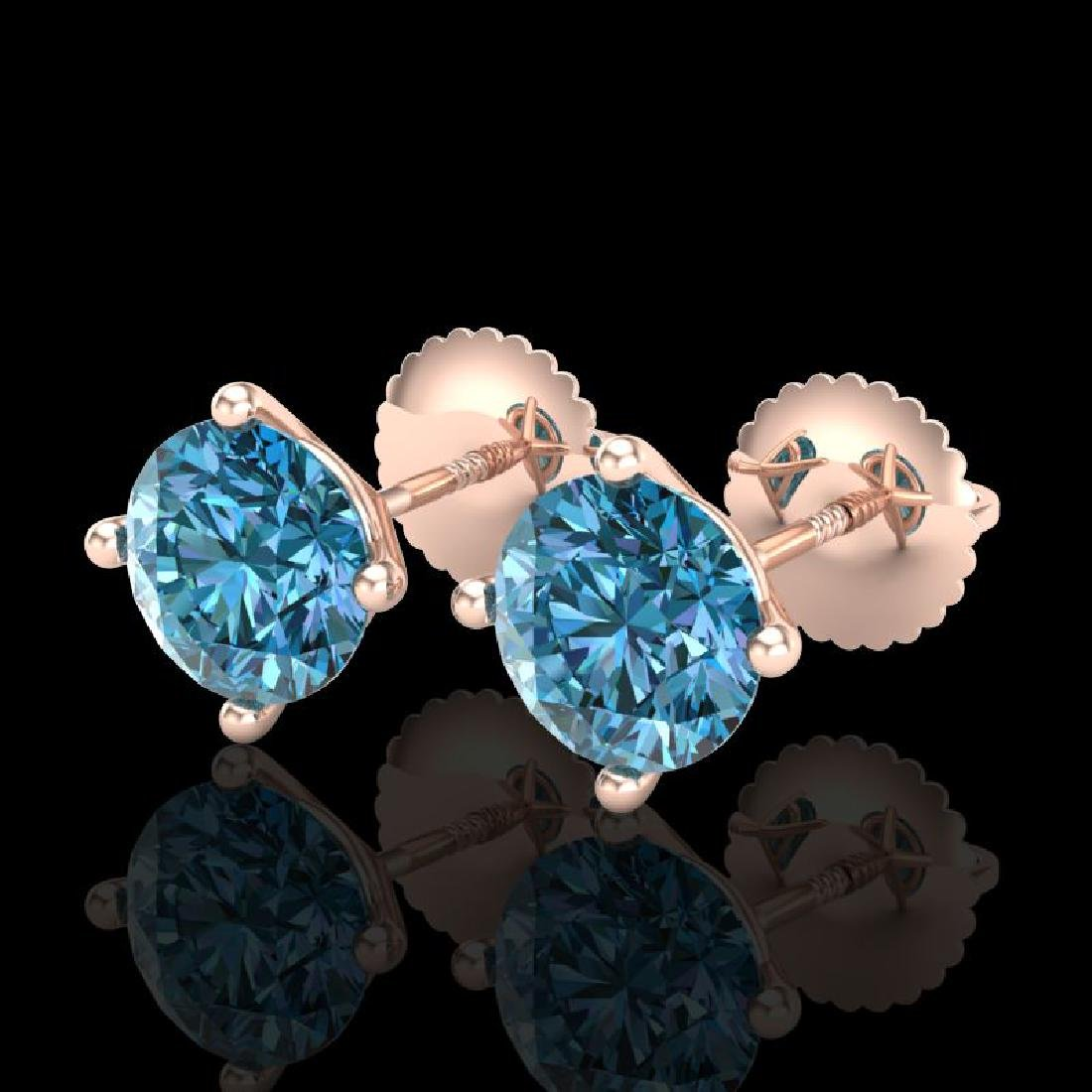 2 CTW Fancy Intense Blue Diamond Solitaire Art Deco