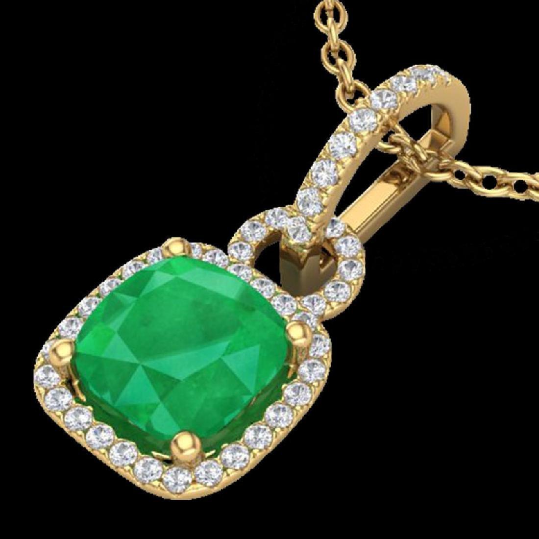 3 CTW Emerald & Micro VS/SI Diamond Necklace 18K Yellow