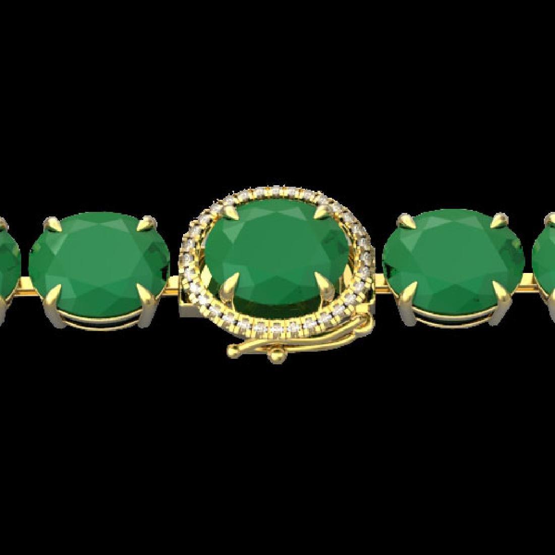 76 CTW Emerald & Micro Pave VS/SI Diamond Halo Bracelet