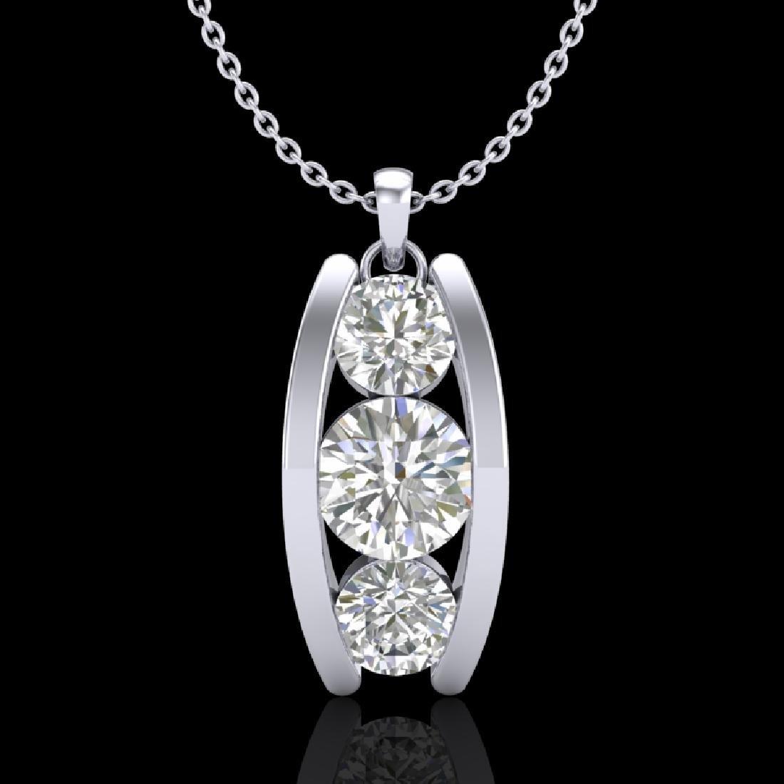1.07 CTW VS/SI Diamond Solitaire Art Deco Stud Necklace