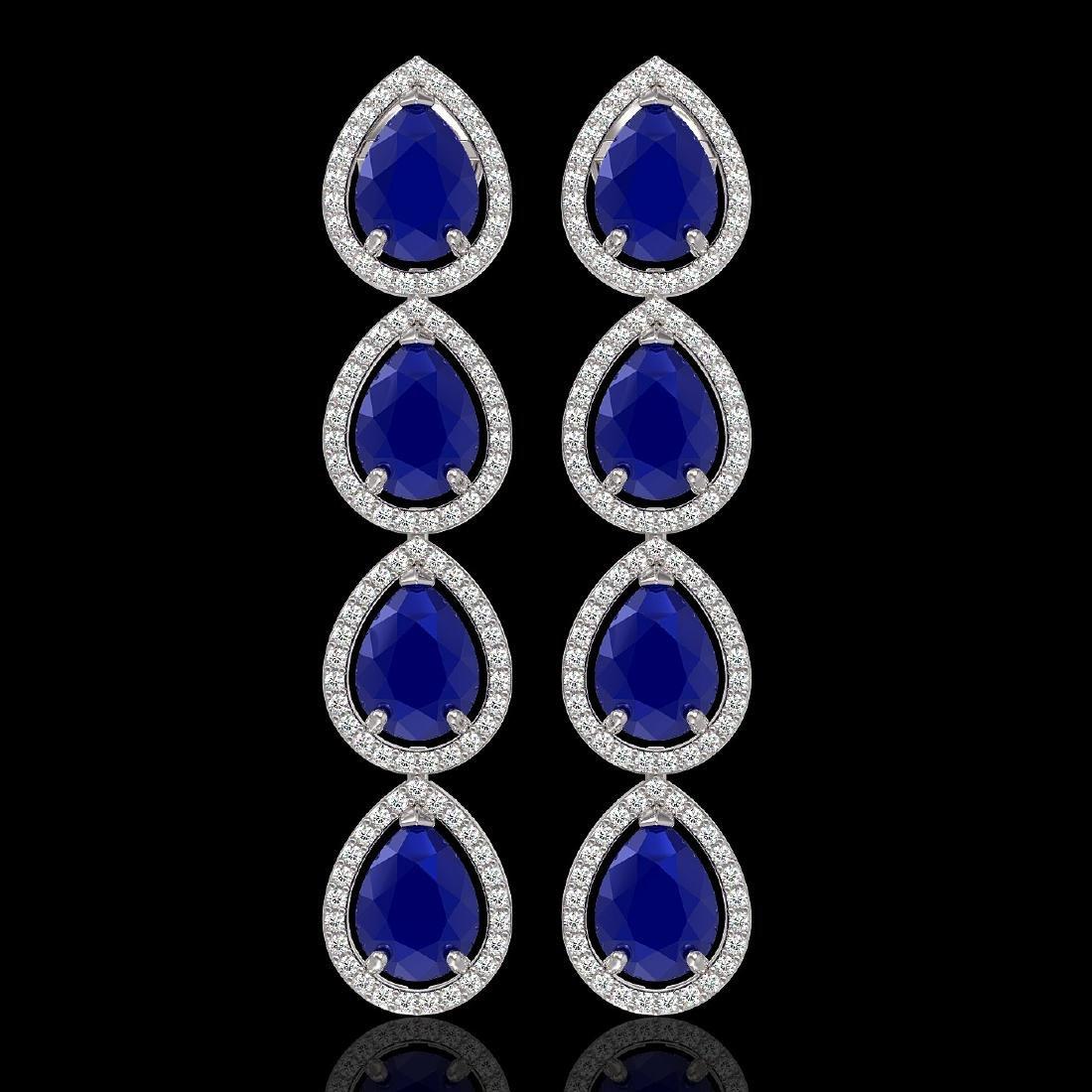 16.01 CTW Sapphire & Diamond Halo Earrings 10K White
