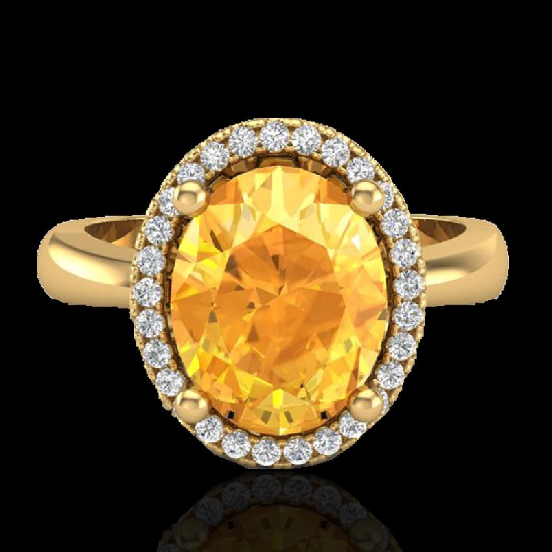 2.50 CTW Citrine And Micro Pave VS/SI Diamond Ring Halo