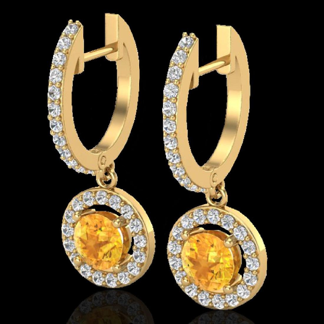1.75 CTW Citrine & Micro Pave Halo VS/SI Diamond