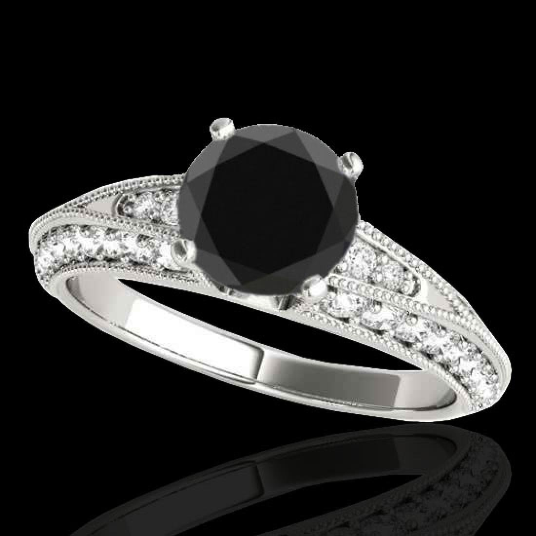 1.58 CTW Certified VS Black Diamond Solitaire Antique