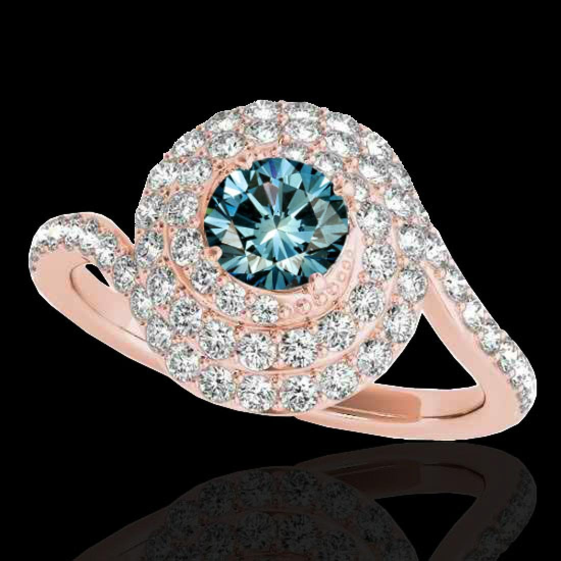 1.86 CTW SI Certified Fancy Blue Diamond Solitaire Halo
