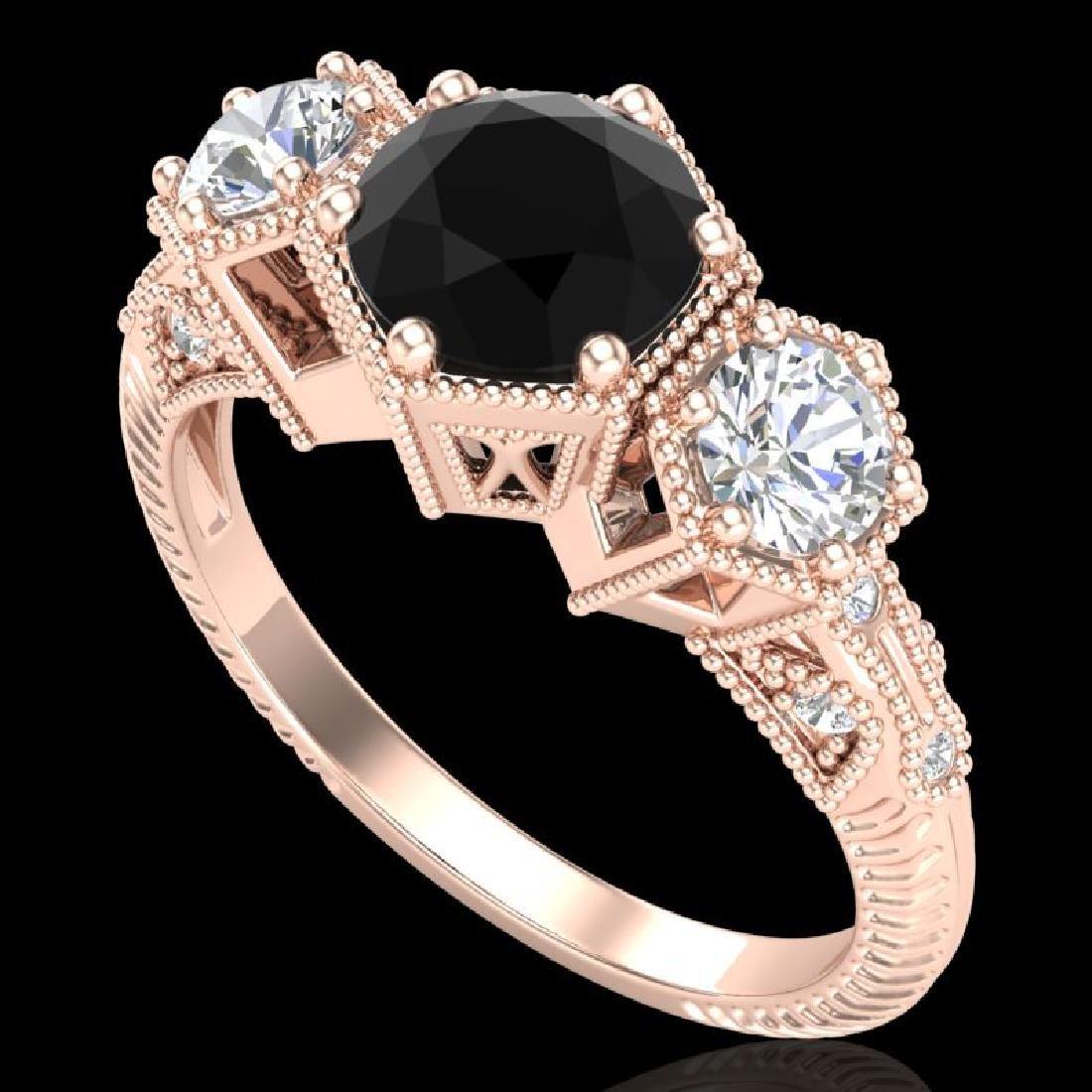 1.66 CTW Fancy Black Diamond Solitaire Art Deco 3 Stone