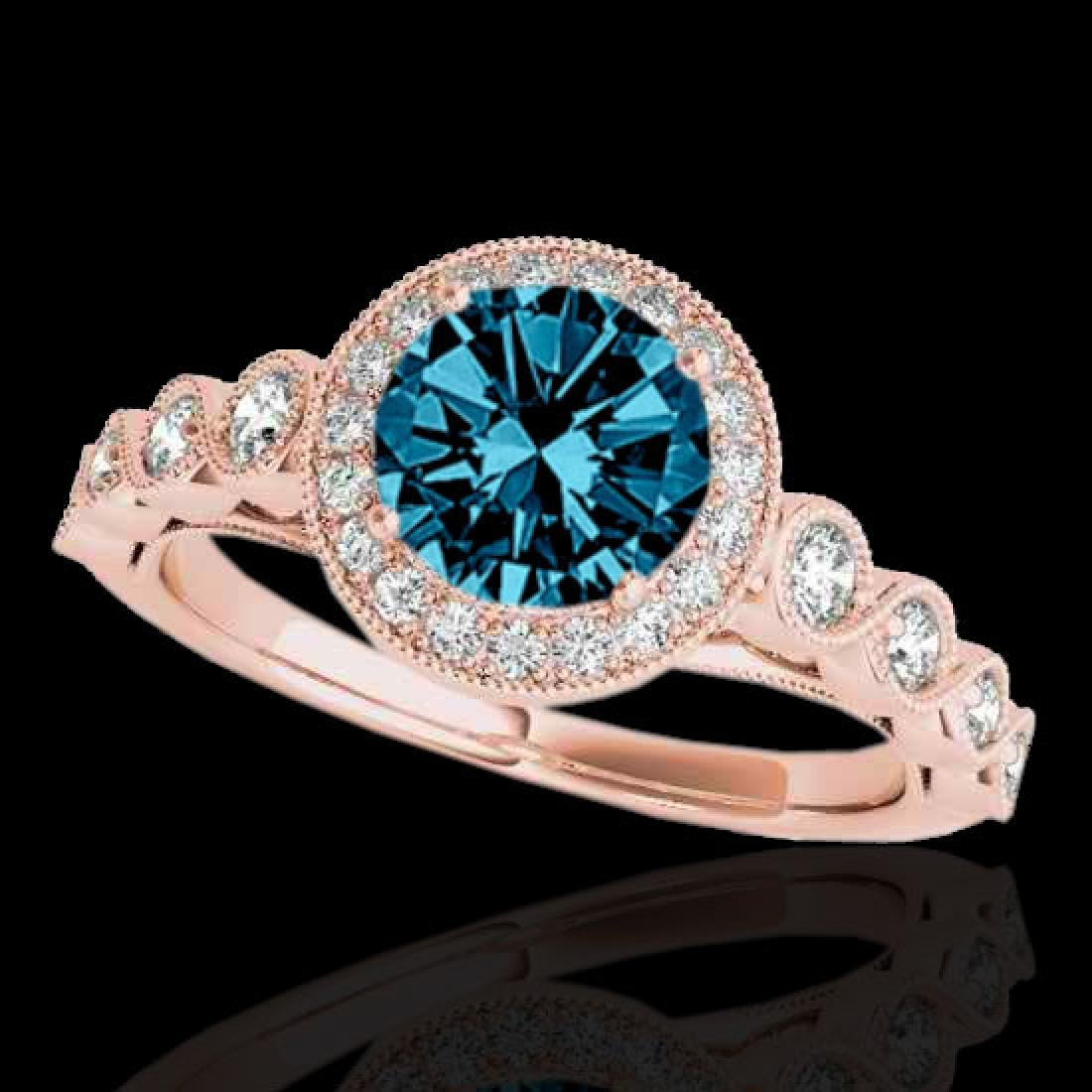 1.93 CTW SI Certified Fancy Blue Diamond Solitaire Halo