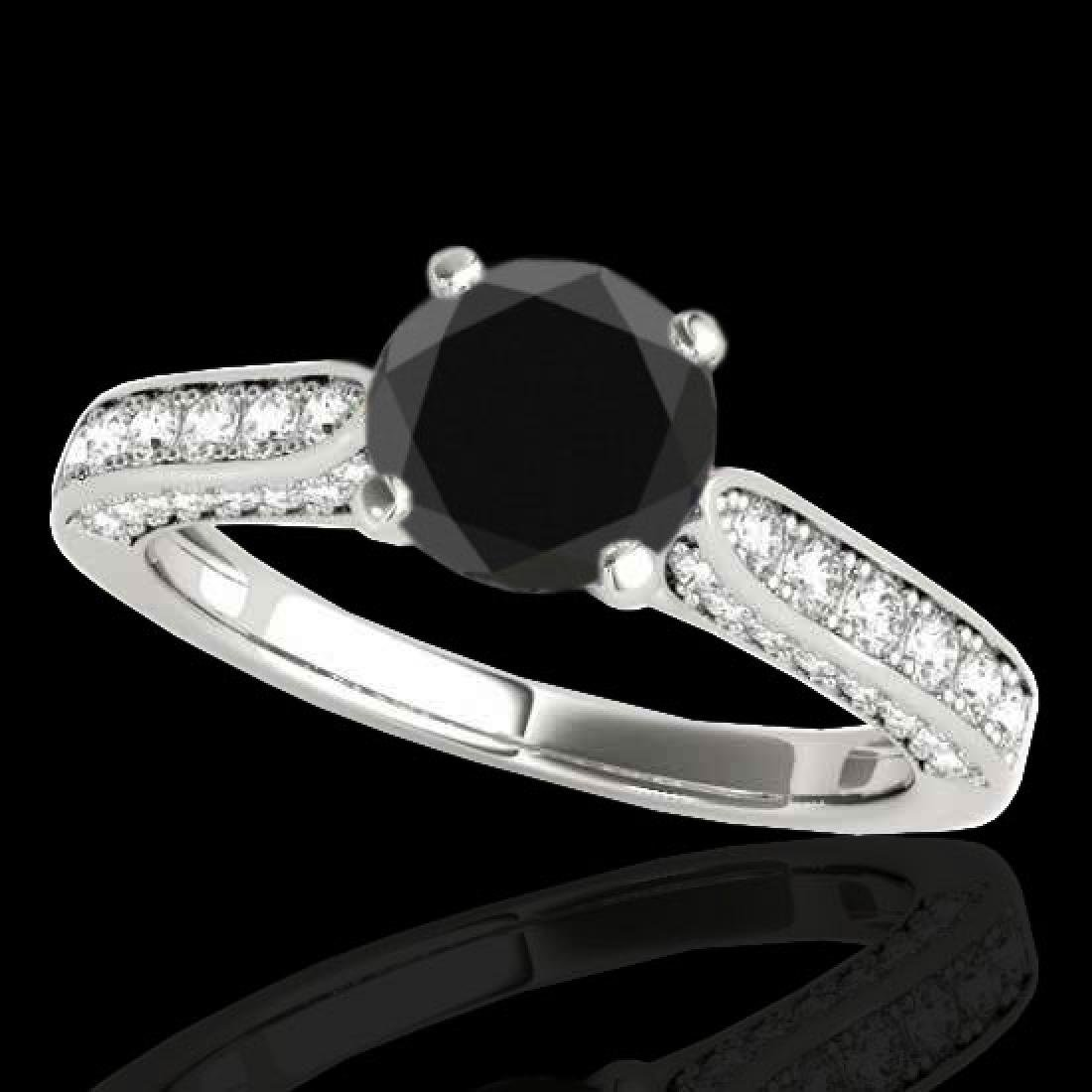 1.6 CTW Certified VS Black Diamond Solitaire Ring 10K