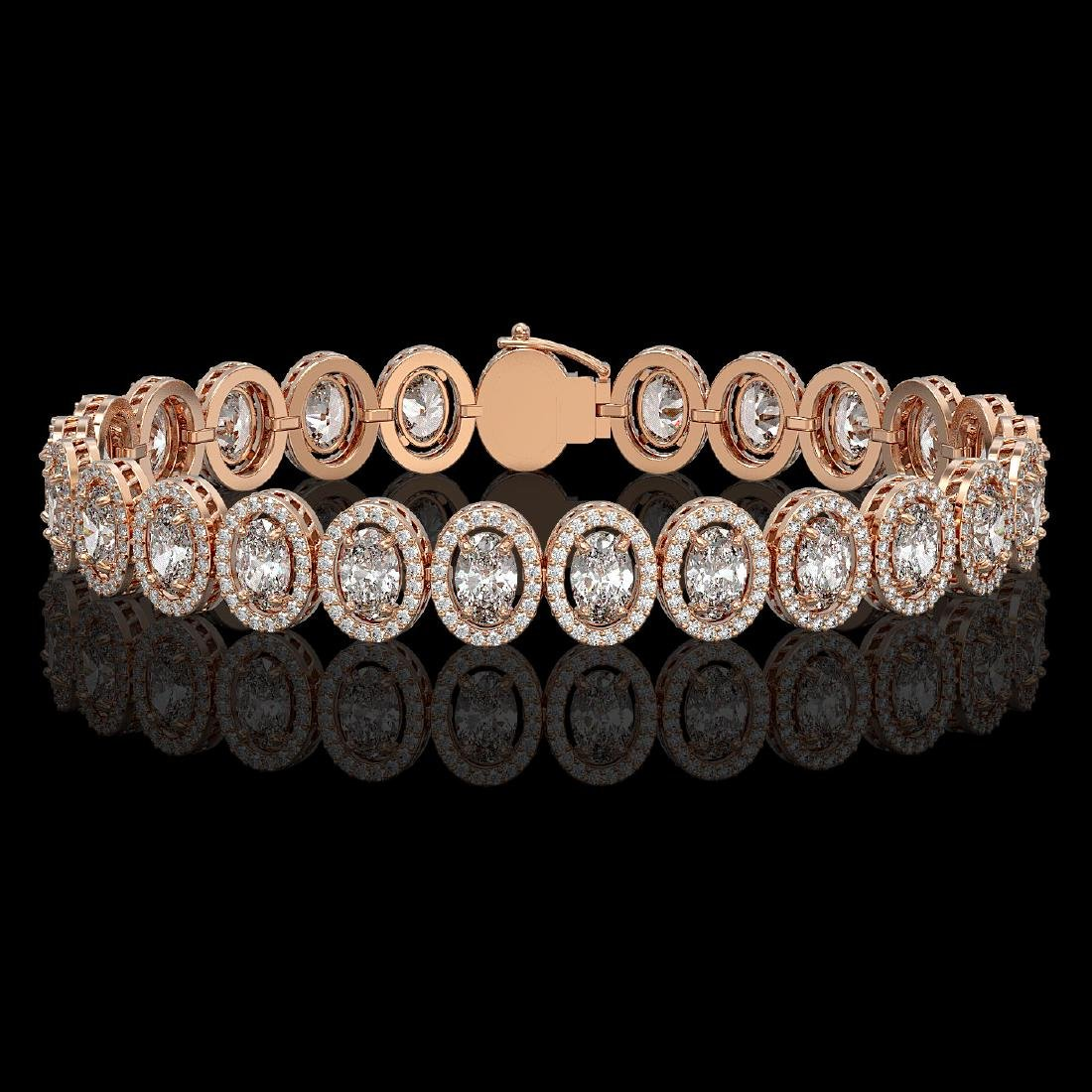 15.8 CTW Oval Diamond Designer Bracelet 18K Rose Gold