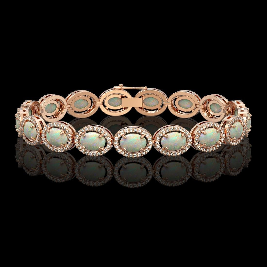 14.24 CTW Opal & Diamond Halo Bracelet 10K Rose Gold