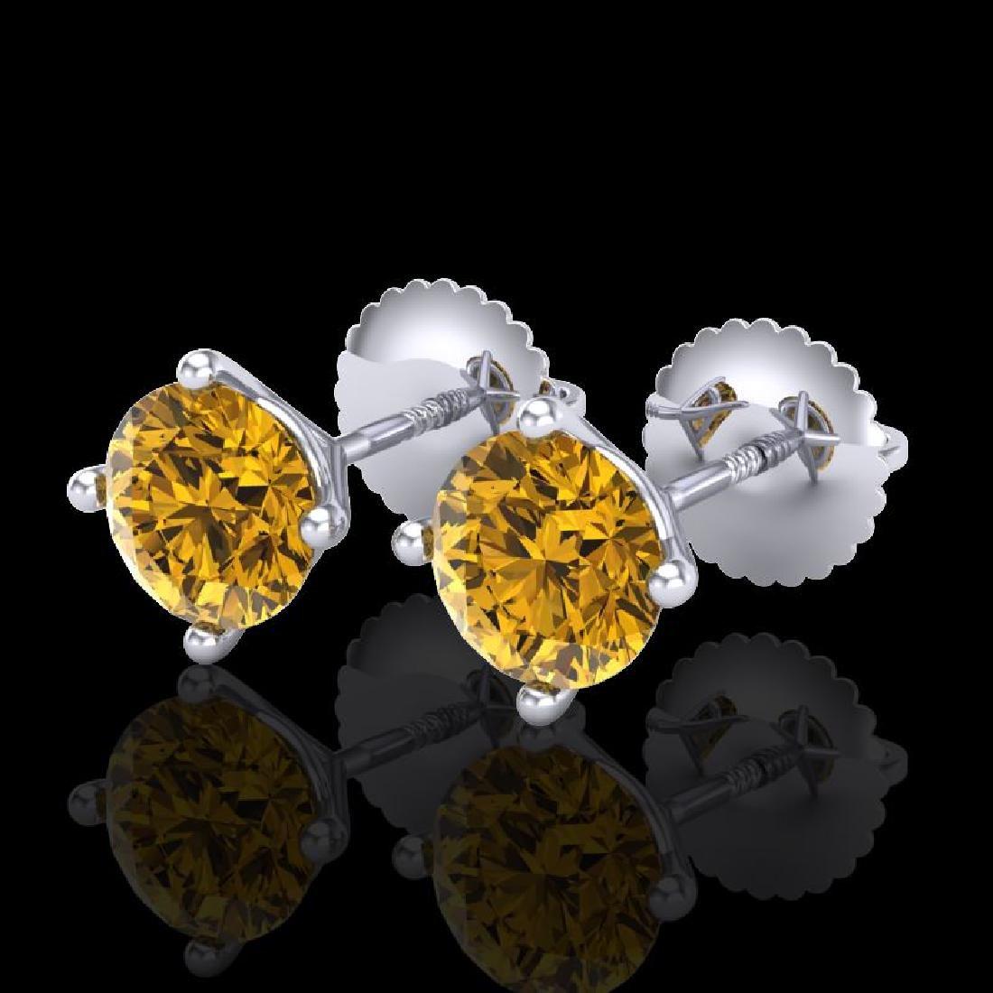 1.5 CTW Intense Fancy Yellow Diamond Art Deco Stud