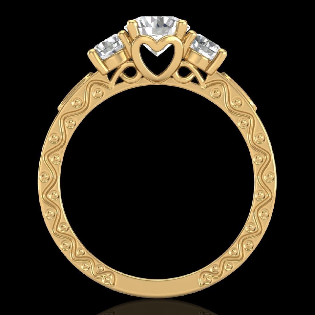 1.41 CTW VS/SI Diamond Solitaire Art Deco 3 Stone Ring