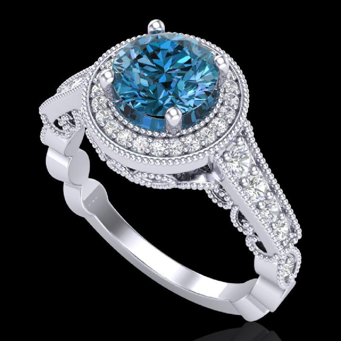 1.91 CTW Fancy Intense Blue Diamond Solitaire Art Deco