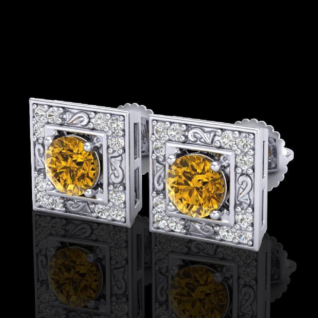 1.63 CTW Intense Fancy Yellow Diamond Art Deco Stud
