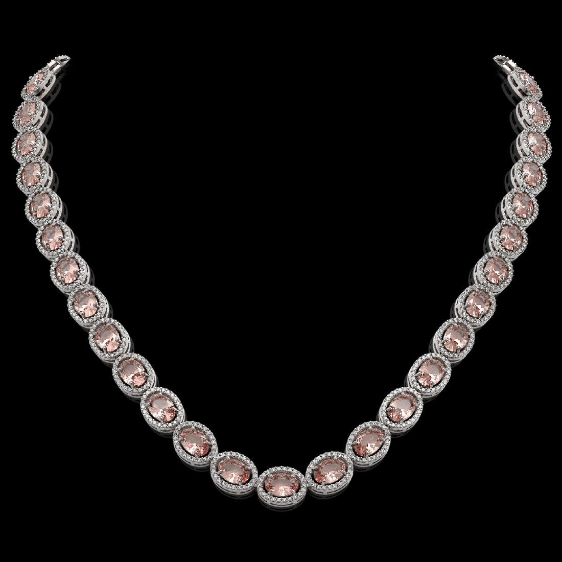 45.98 CTW Morganite & Diamond Halo Necklace 10K White