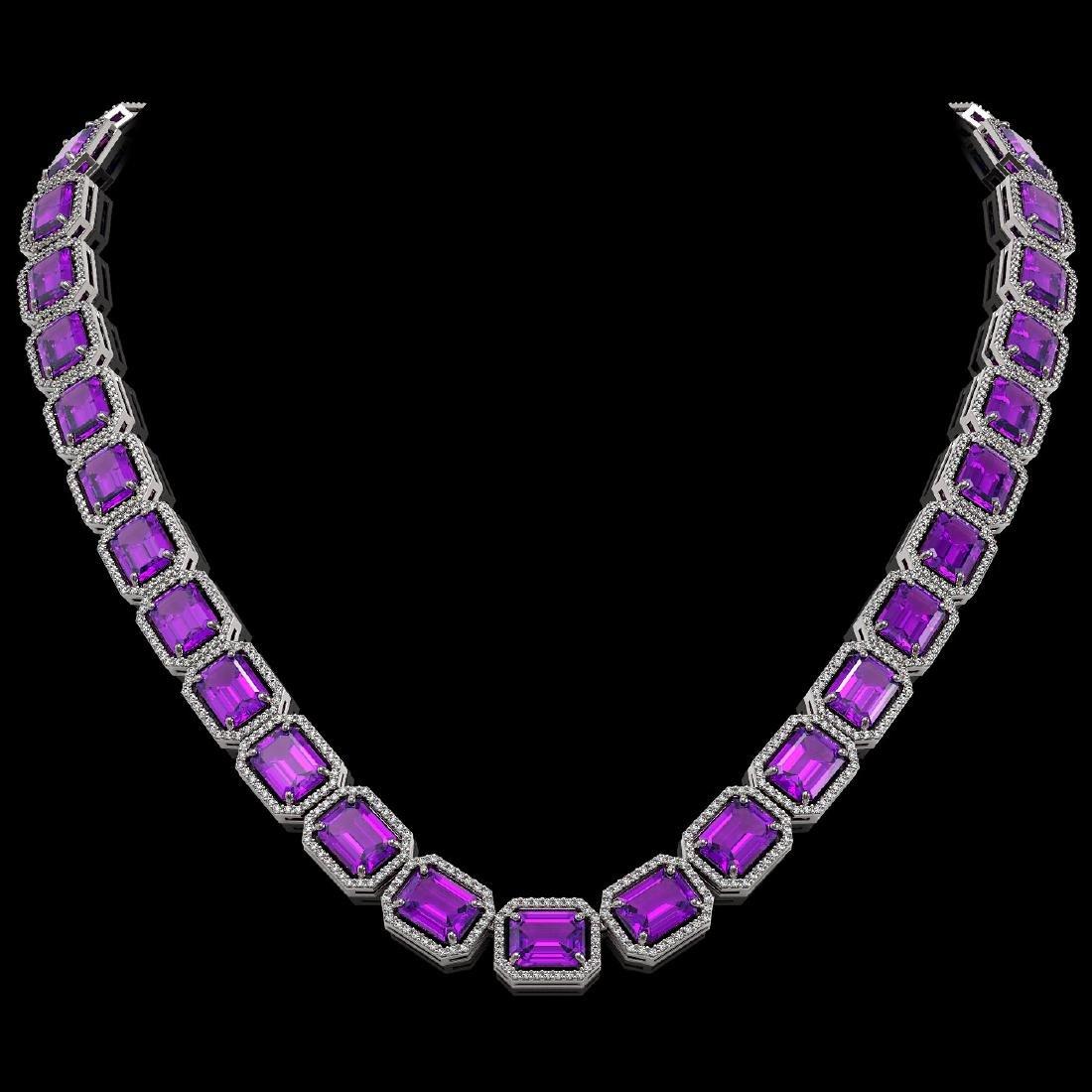 76.69 CTW Amethyst & Diamond Halo Necklace 10K White