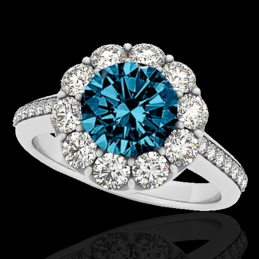 2 CTW SI Certified Fancy Blue Diamond Solitaire Halo