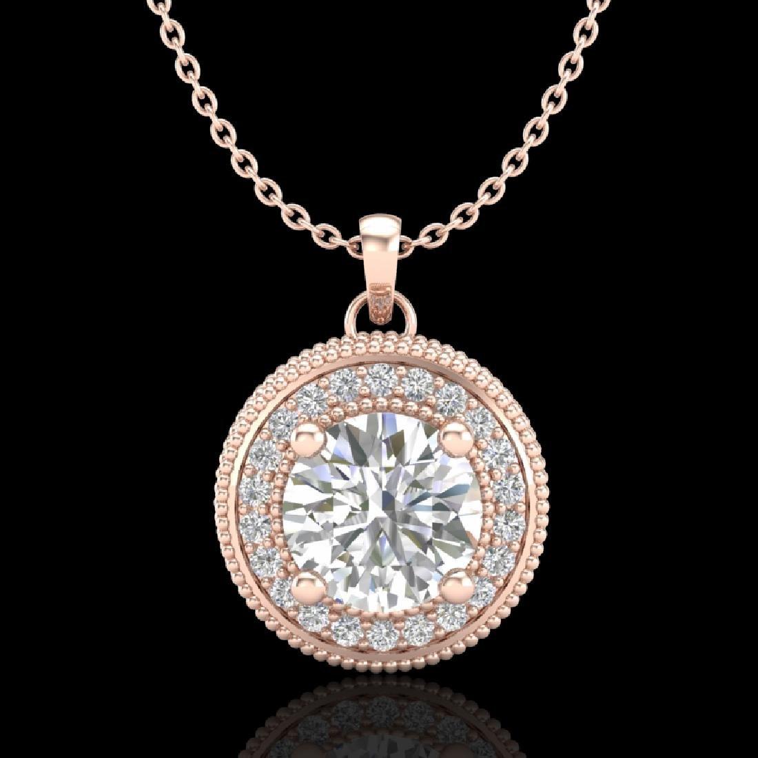1.25 CTW VS/SI Diamond Solitaire Art Deco Stud Necklace