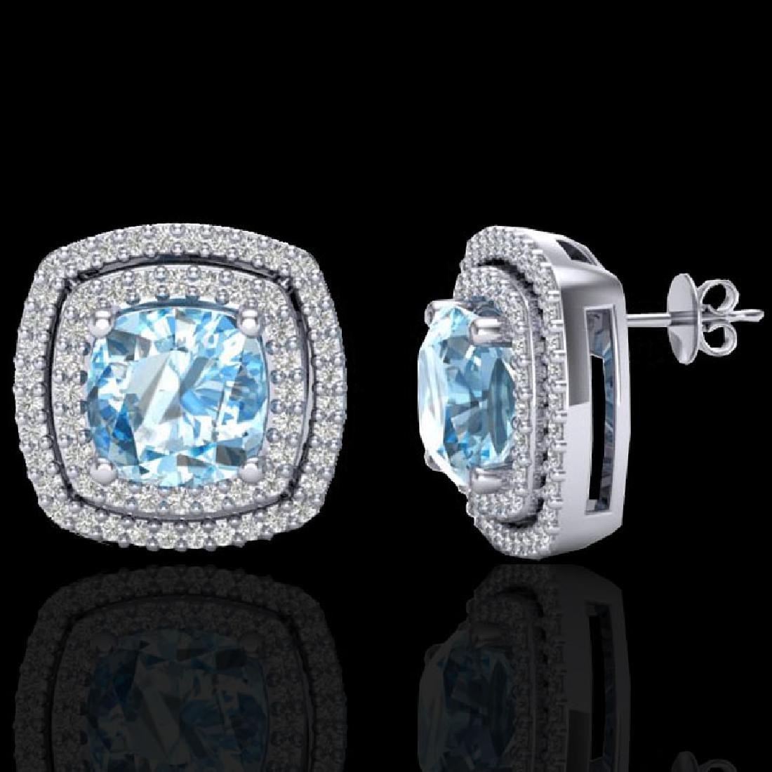 4.05 CTW Sky Blue Topaz & Micro VS/SI Diamond Halo