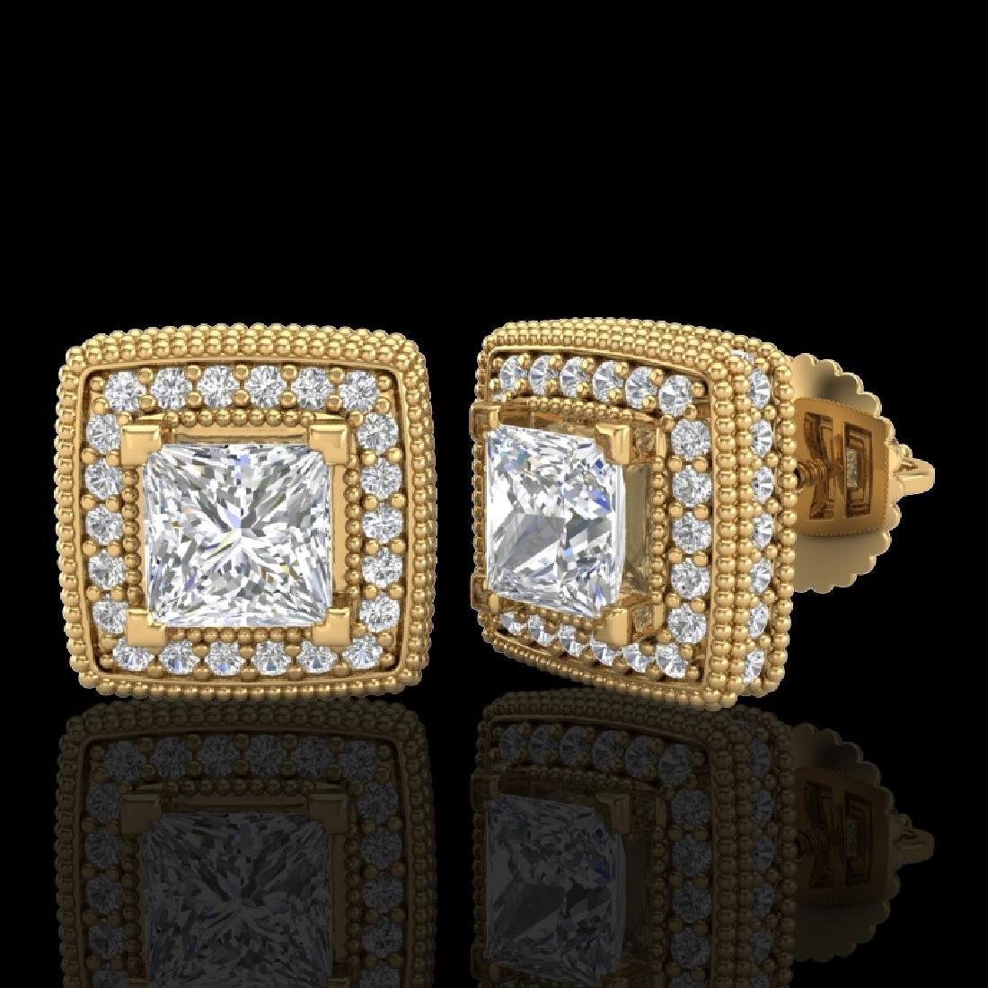 2.01 CTW Princess VS/SI Diamond Art Deco Stud Earrings