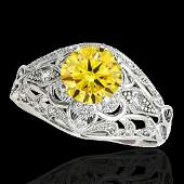 136 CTW Certified Si Intense Yellow Diamond Solitaire
