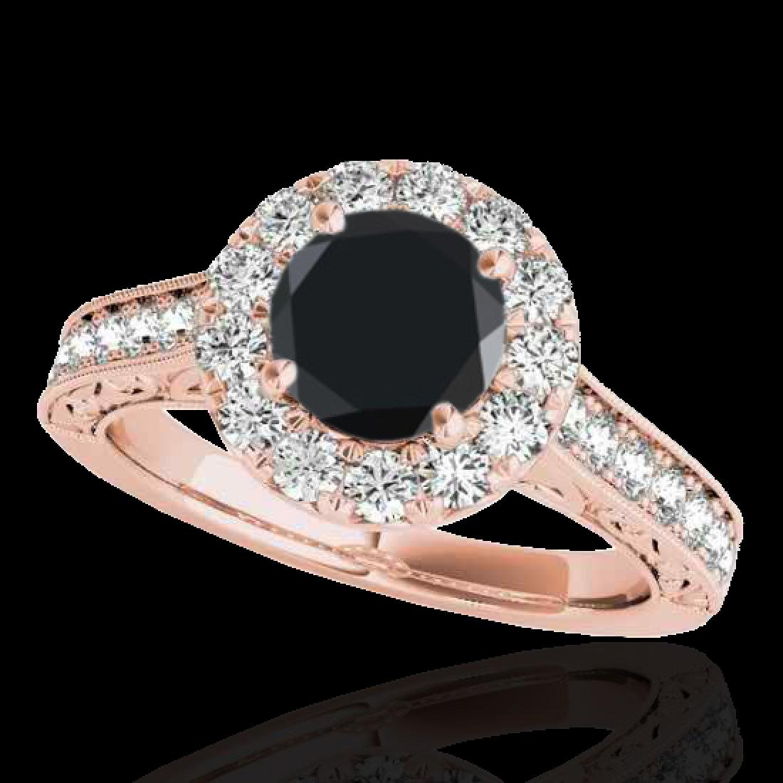 1.7 CTW Certified VS Black Diamond Solitaire Halo Ring