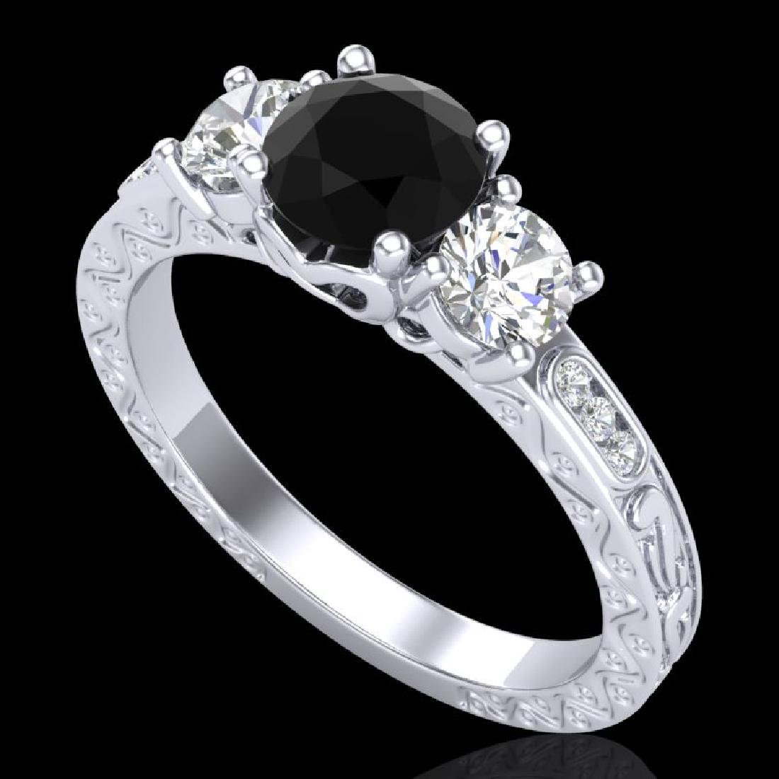 1.41 CTW Fancy Black Diamond Solitaire Art Deco 3 Stone
