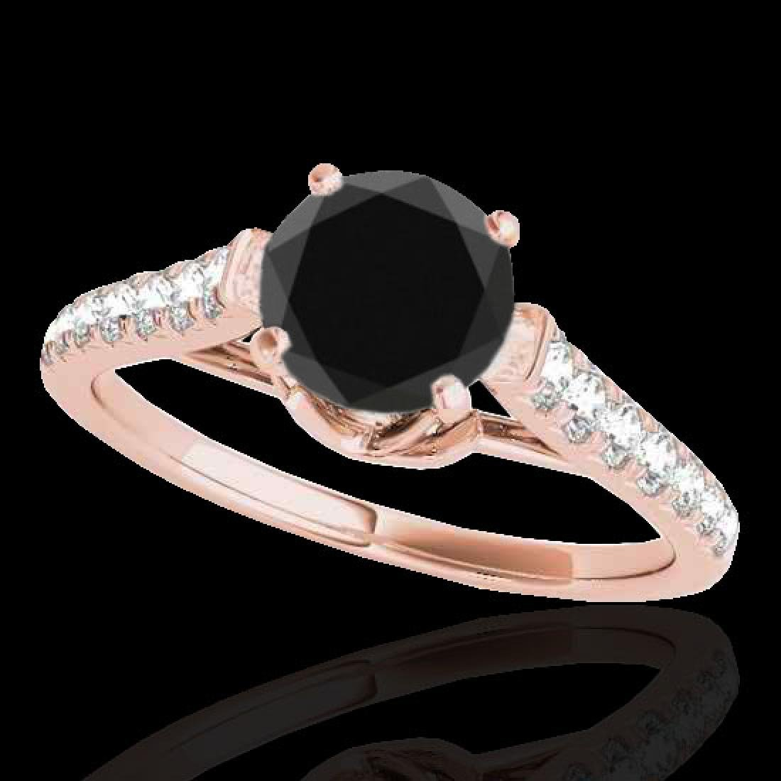 1.46 CTW Certified VS Black Diamond Solitaire Ring 10K