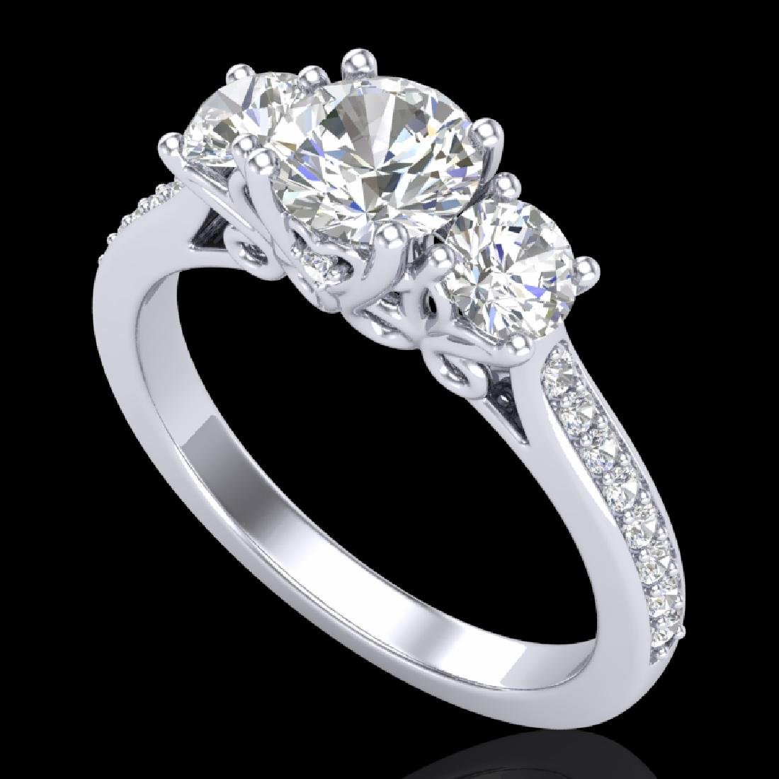 1.67 CTW VS/SI Diamond Solitaire Art Deco 3 Stone Ring