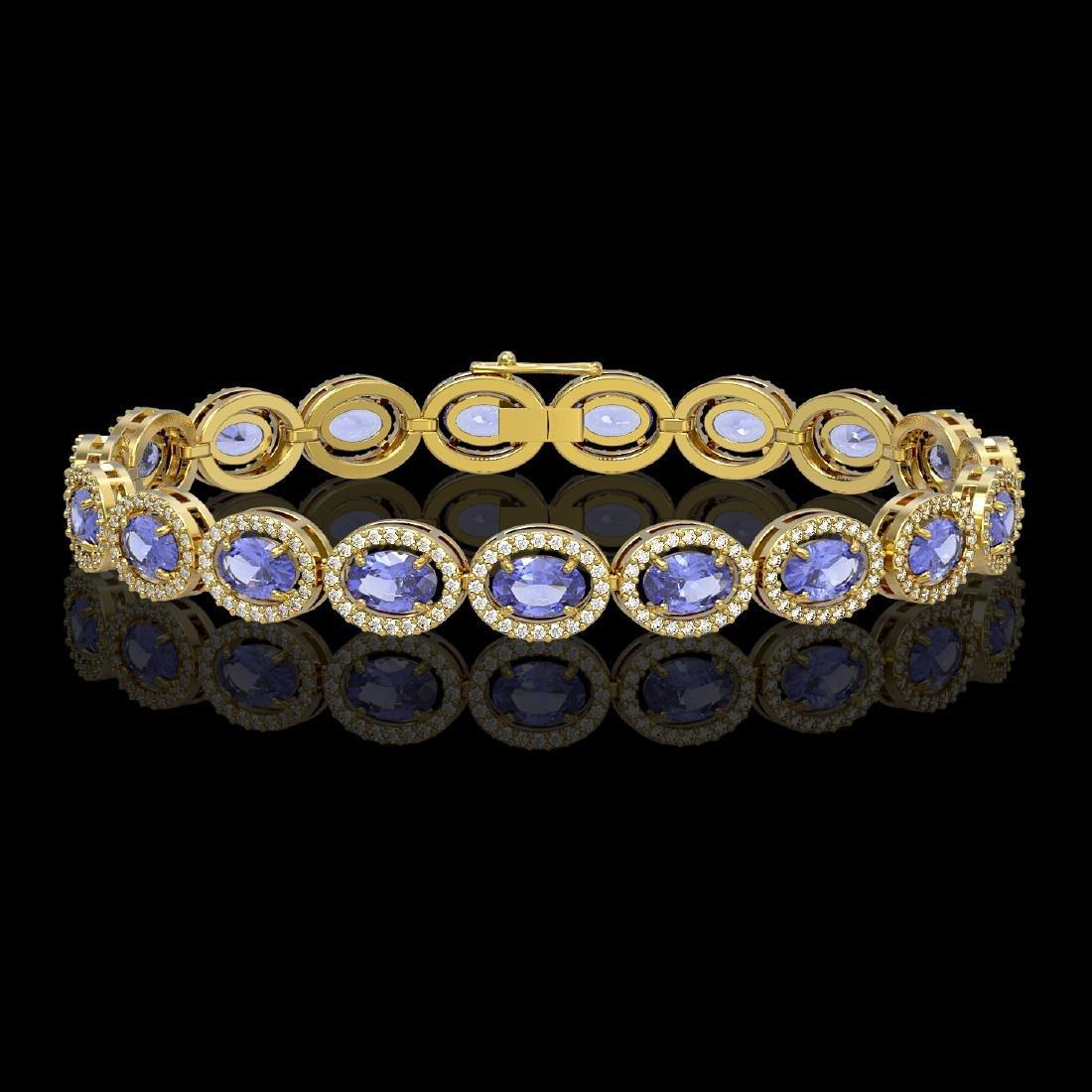 14.25 CTW Tanzanite & Diamond Halo Bracelet 10K Yellow