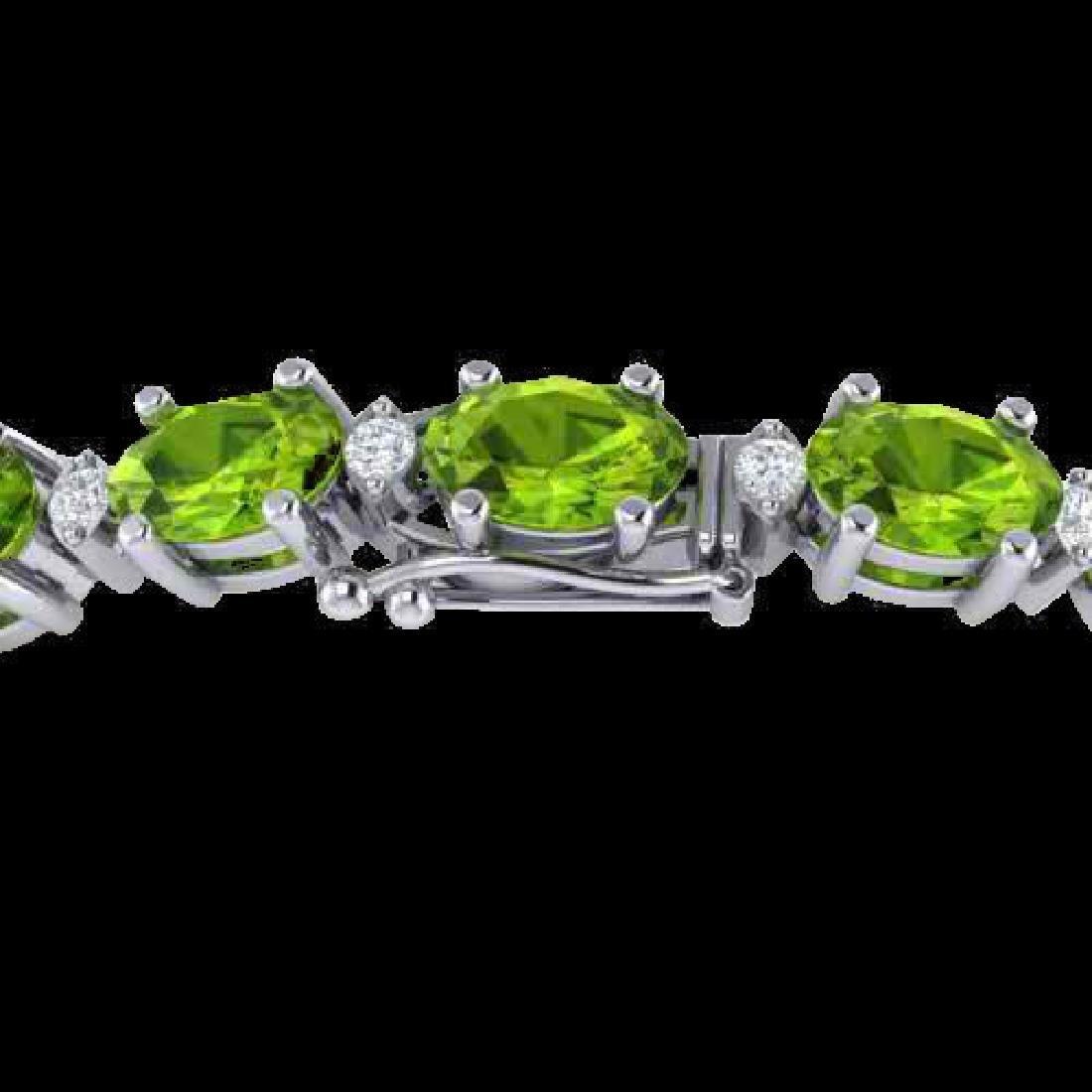 13 CTW Peridot & VS/SI Diamond Eternity Bracelet White