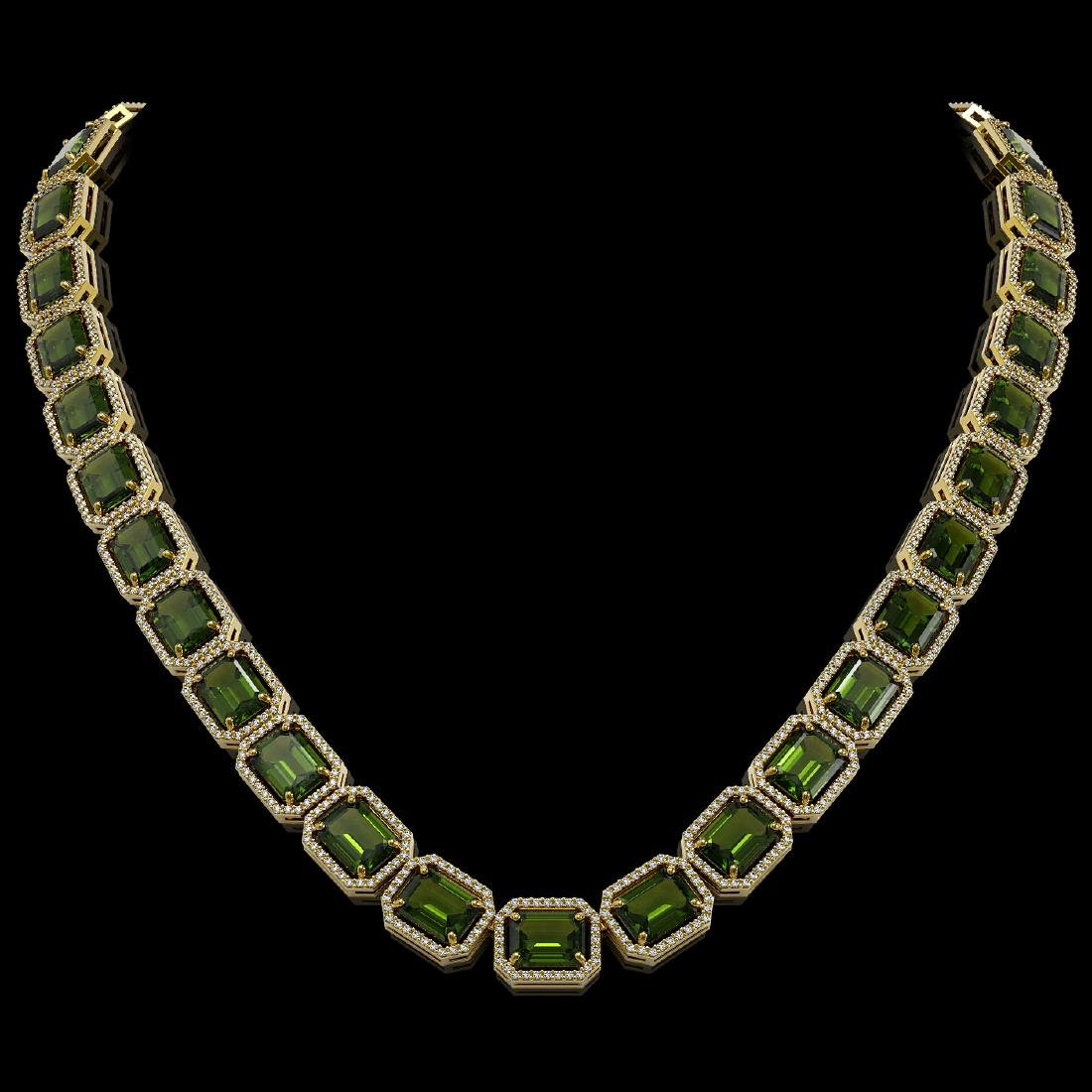 80.65 CTW Tourmaline & Diamond Halo Necklace 10K Yellow