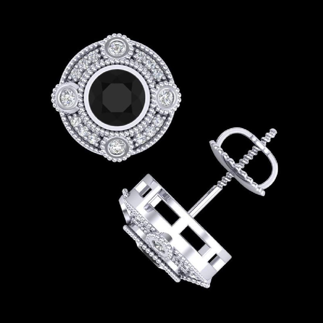 1.5 CTW Fancy Black Diamond Solitaire Art Deco Stud - 3