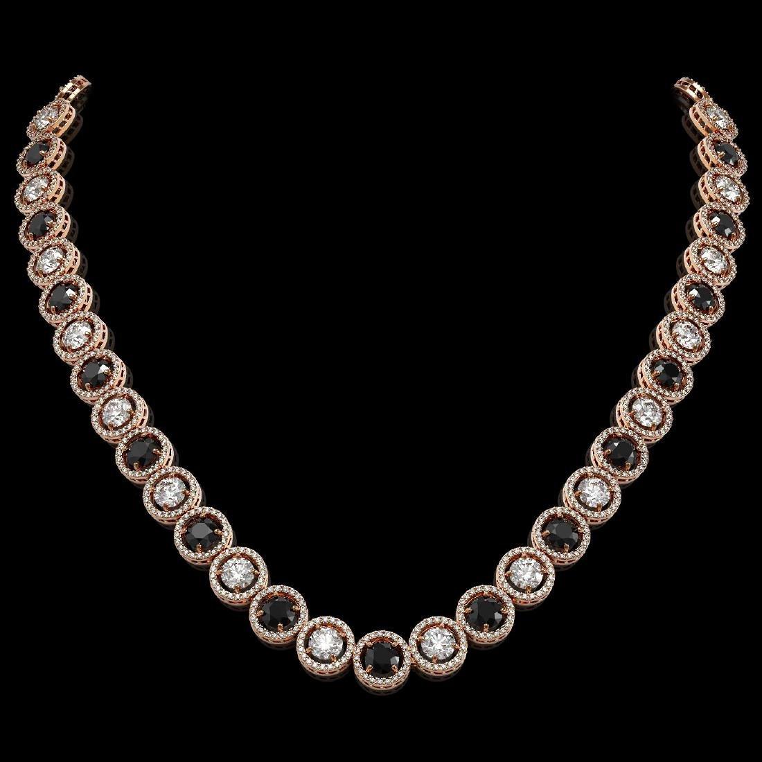 32.10 CTW Black & White Diamond Designer Necklace 18K
