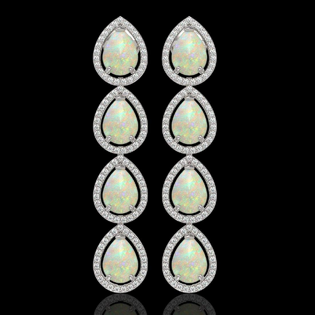 9.12 CTW Opal & Diamond Halo Earrings 10K White Gold