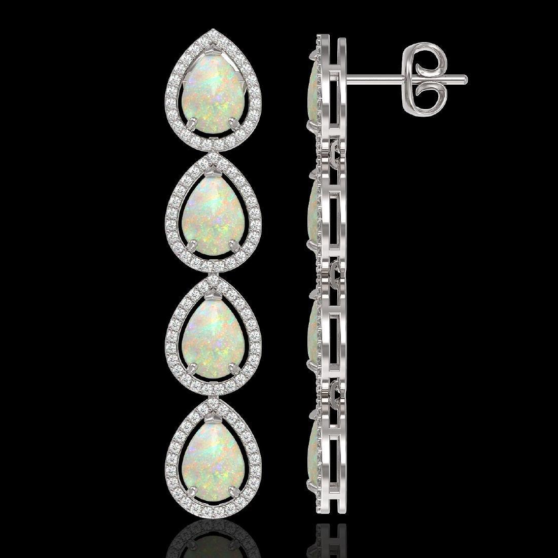 9.12 CTW Opal & Diamond Halo Earrings 10K White Gold - 2