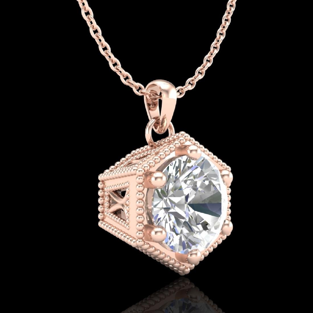 0.82 CTW VS/SI Diamond Solitaire Art Deco Stud Necklace - 3