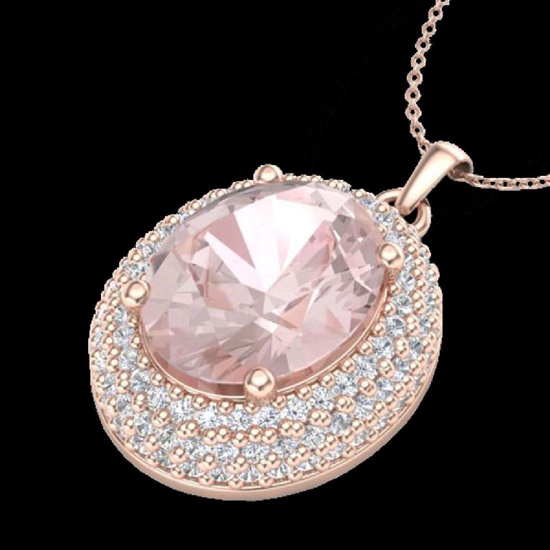 4.50 CTW Morganite & Micro Pave VS/SI Diamond Necklace - 2