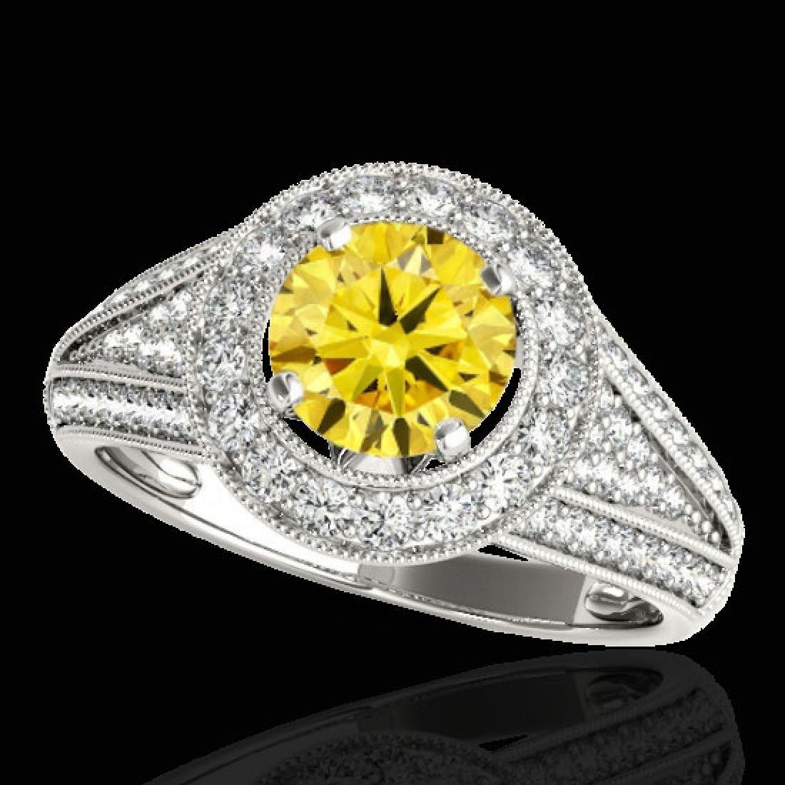 2.17 CTW Certified SI/I Fancy Intense Yellow Diamond