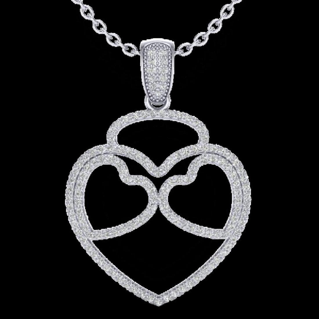 1.20 CTW Micro Pave VS/SI Diamond Designer Heart - 2